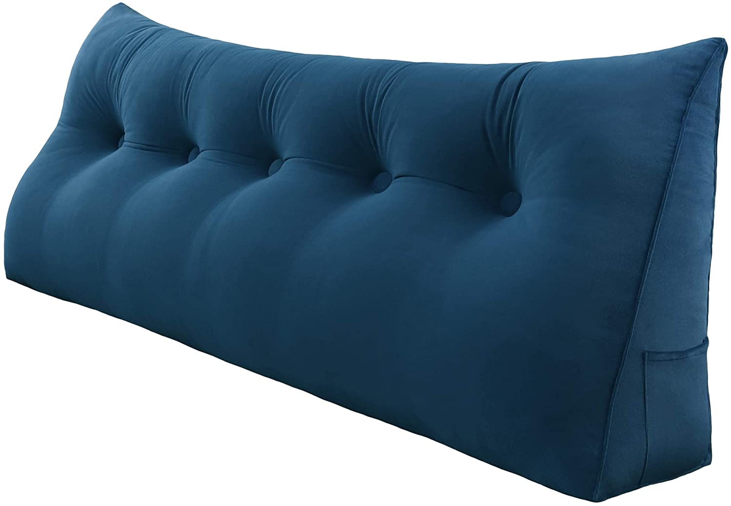 WOWMAX Triangular Wedge and Body Positioners Reading Pillow Large Bolster Headboard Backrest Support Cushion for Day Bed Bunk Bed with Removable Cover 59 Inches Velvet Dark Blue