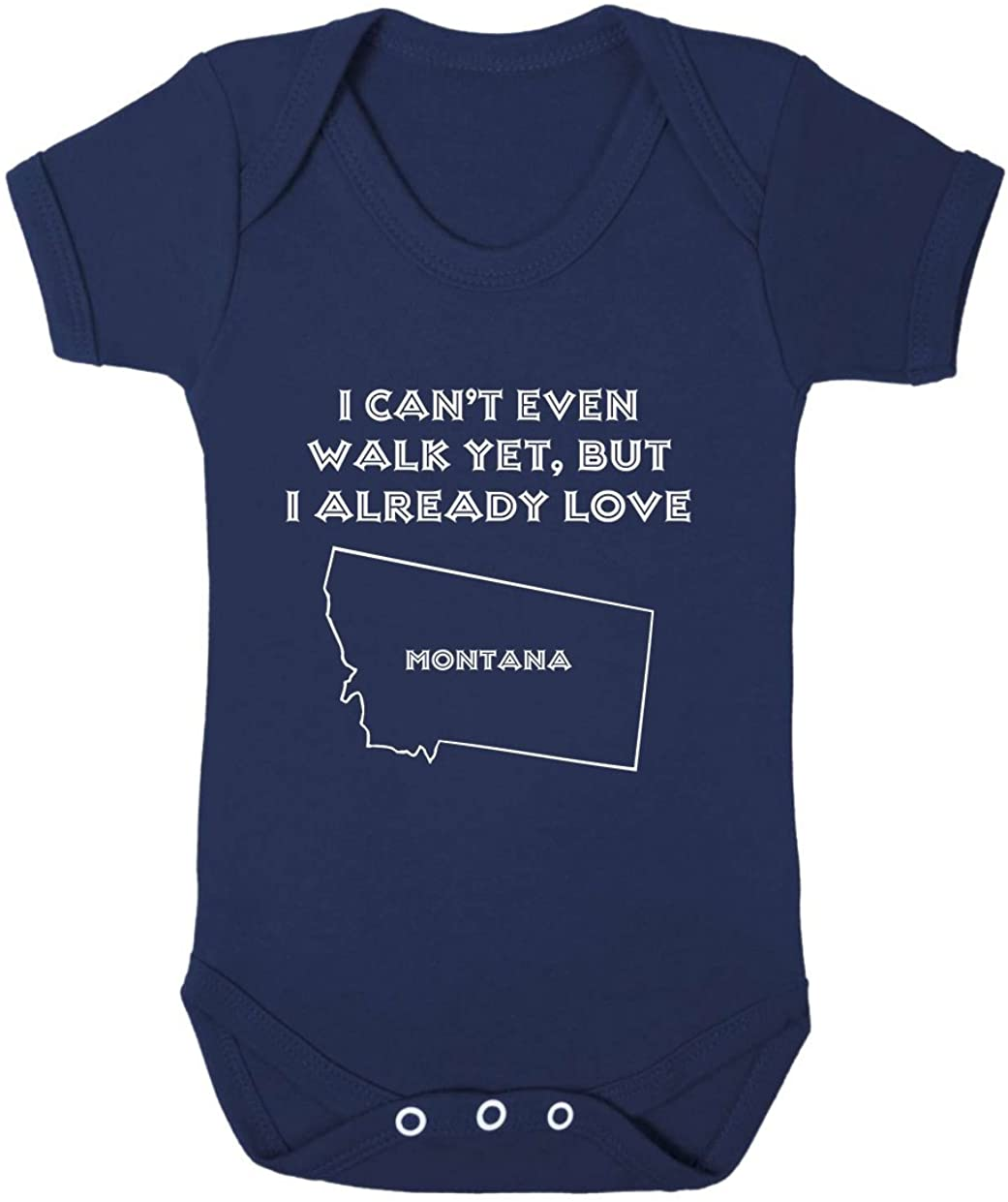 I Can't Even Walk Yet But I Already Love Montana Baby Bodysuit One Piece Navy 6 Months
