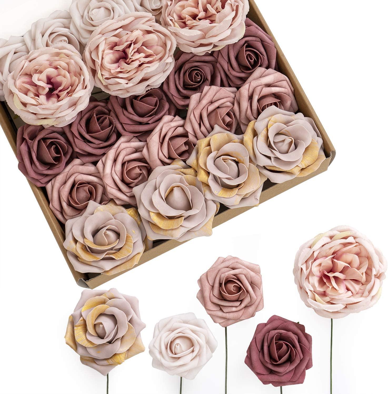 Ling's moment Artificial Flowers Combo Box Set Retro Dusty Rose for DIY Wedding Bouquets Centerpieces Arrangements Bridal Shower Party Home Decorations