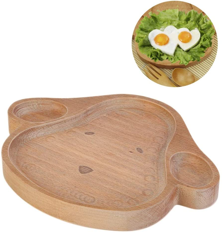 Wooden Cute Plate Dish,Childrens Bamboo Tableware Plate Bowl Food Serving Tray for Home/Hotel/School/Restaurant