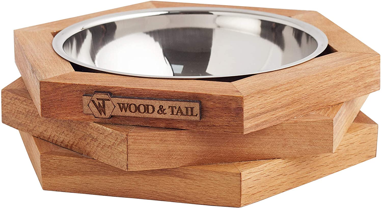 WOOD & TAIL Designer Elevated Dog and Cat Handmade Solid Wood Feeder, Premium Raised Food and Water Stand with Stainless Steel Bowl.Perfect for Small and Medium Pets,Hexx