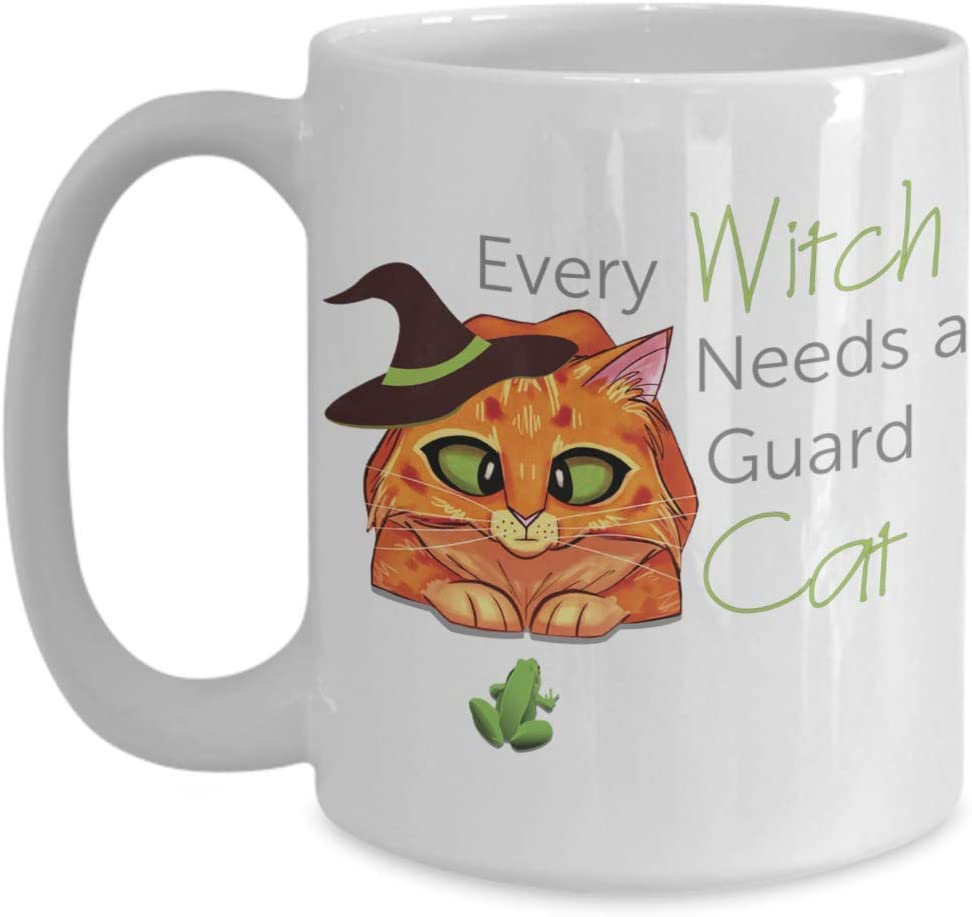 PixiDoodle Witchcraft Orange Cat Lover Coffee Mug (15 oz, White)