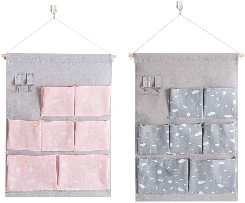 iSuperb 2 Pack Wall Pocket Hanging Storage Bags Wall Door Cloth Hanging Organizer 7 Pockets +2 Hooks Sundries Storage Bags Home Organizer (Pink & Grey A)