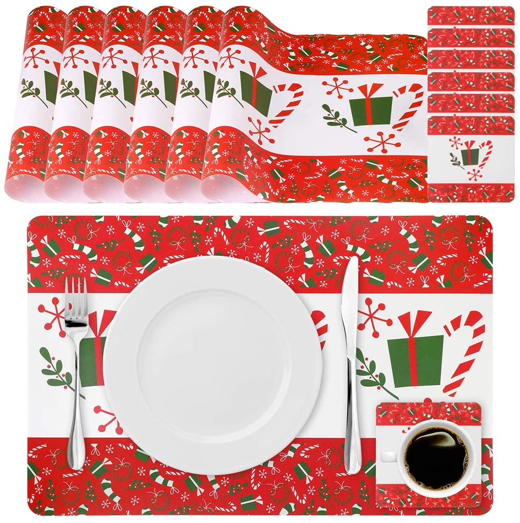 Outgeek Christmas Placemats, Red Christmas Placemats Set of 6 Xmas Table Mats Holiday Christmas Placemat Sets Cup Mats,Candy, Snowflake Gift Waterproof Christmas Placemats for Dining Xmas Table Decor