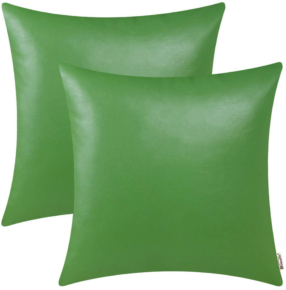 BRAWARM Pack of 2 Cozy Throw Pillow Covers Cases for Couch Sofa Home Decoration Solid Dyed Soft Faux Leather Both Sides 18 X 18 Inches Forest Green