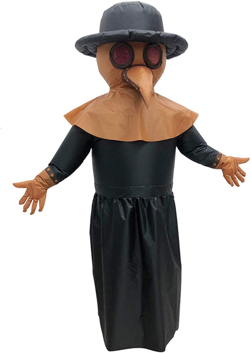 Poptrend Adults Inflatable Halloween Costumes,Plague Doctor Robe, Blow Up Plague Doctor Costume for Halloween,Christmas Birthday,Cosplay Party
