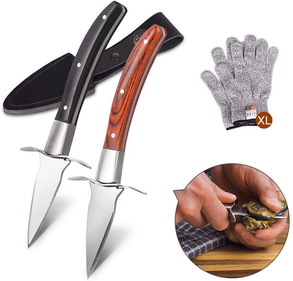 Oyster Knife,Oyster Knife Shucker Set Oyster Shucking Knife and Gloves Cut Resistant(2 knives And 2 pairs of gloves),Seafood Opener Kit Tools (XL-glove)