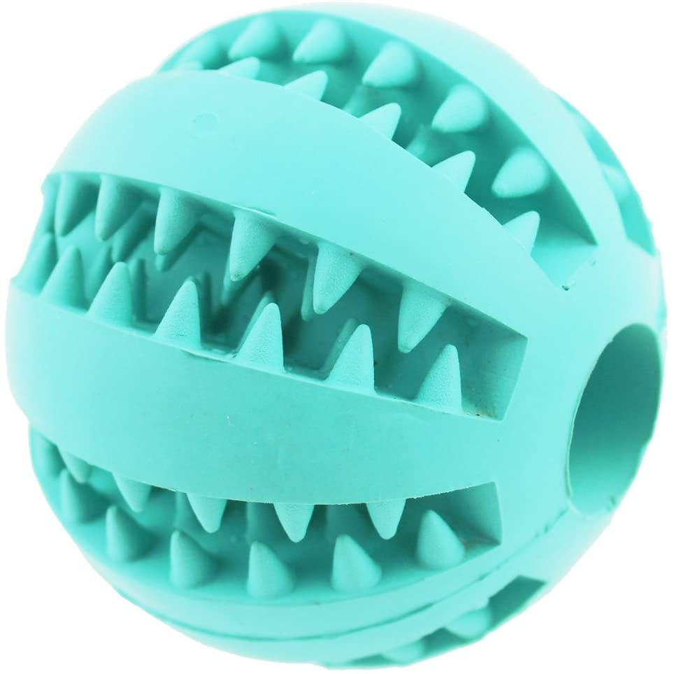 ADUCK Durable Dog Ball Toys for Aggressive Chewers Teething Cleaning (Dental Treat) (Bite Resistant) Natural Soft Bouncy Rubber Ball Toys for Pet IQ Training Playing and Chewing -2.8 Inch