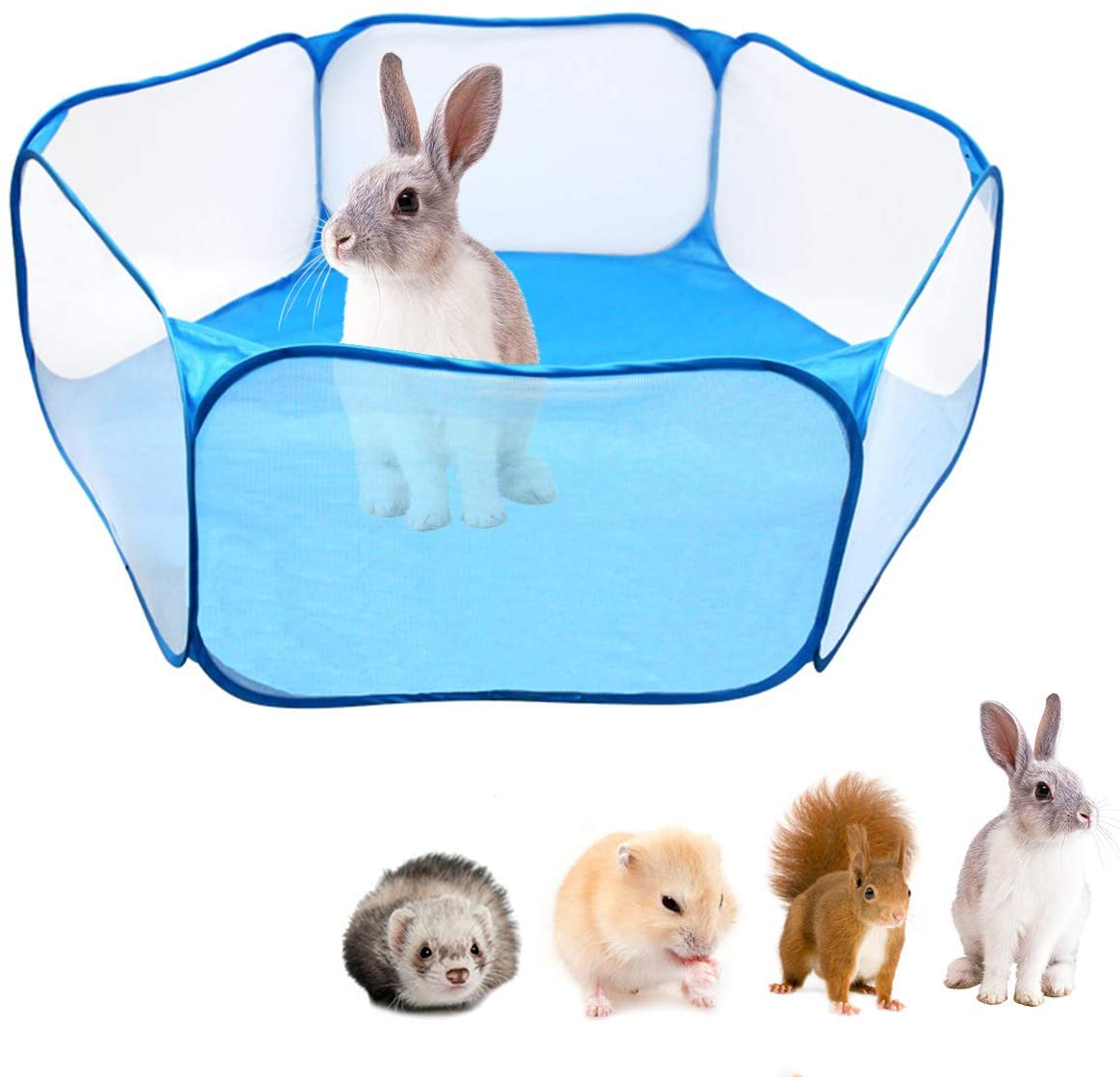 puseky Pet Playpen Portable Pop Open Indoor/Outdoor Small Animals Cage Tent Fence for Hamster, Chinchillas and Guinea-Pigs Playpens