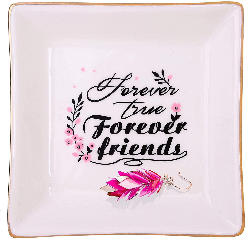 ZeenArt Friendship Gifts for Women, Ceramic Ring Dish Trinket Tray Best Friend Birthday Gifts for Her - Forever True, Forever Friends