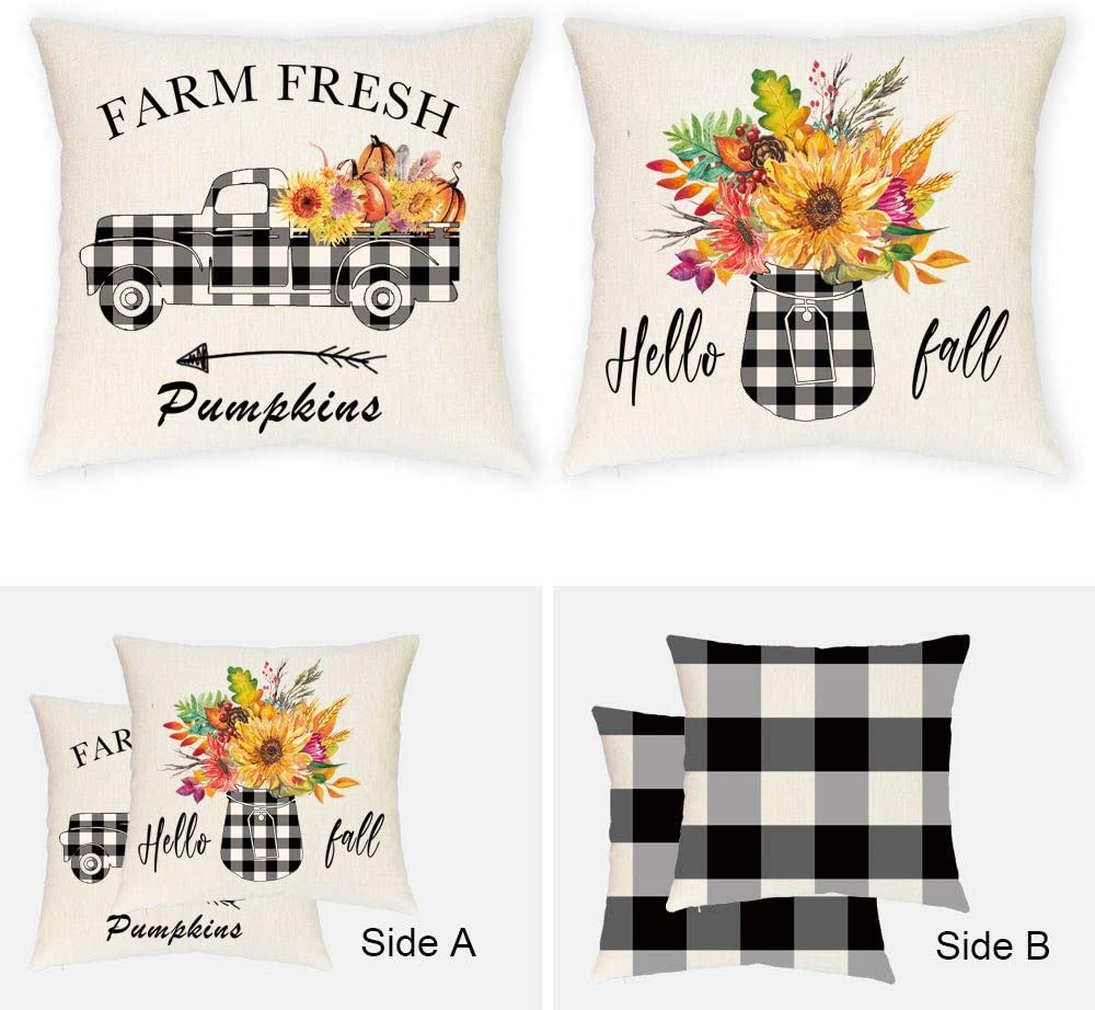 JYNHOOR Set of 2 Fall Pillow Covers 18x18 Inches –Double Printed Buffalo Check Plaid Truck Sunflower Pillow Covers for Fall Decor-Autumn/Harvest/Thanksgiving Farmhouse Decorative Pillow Covers