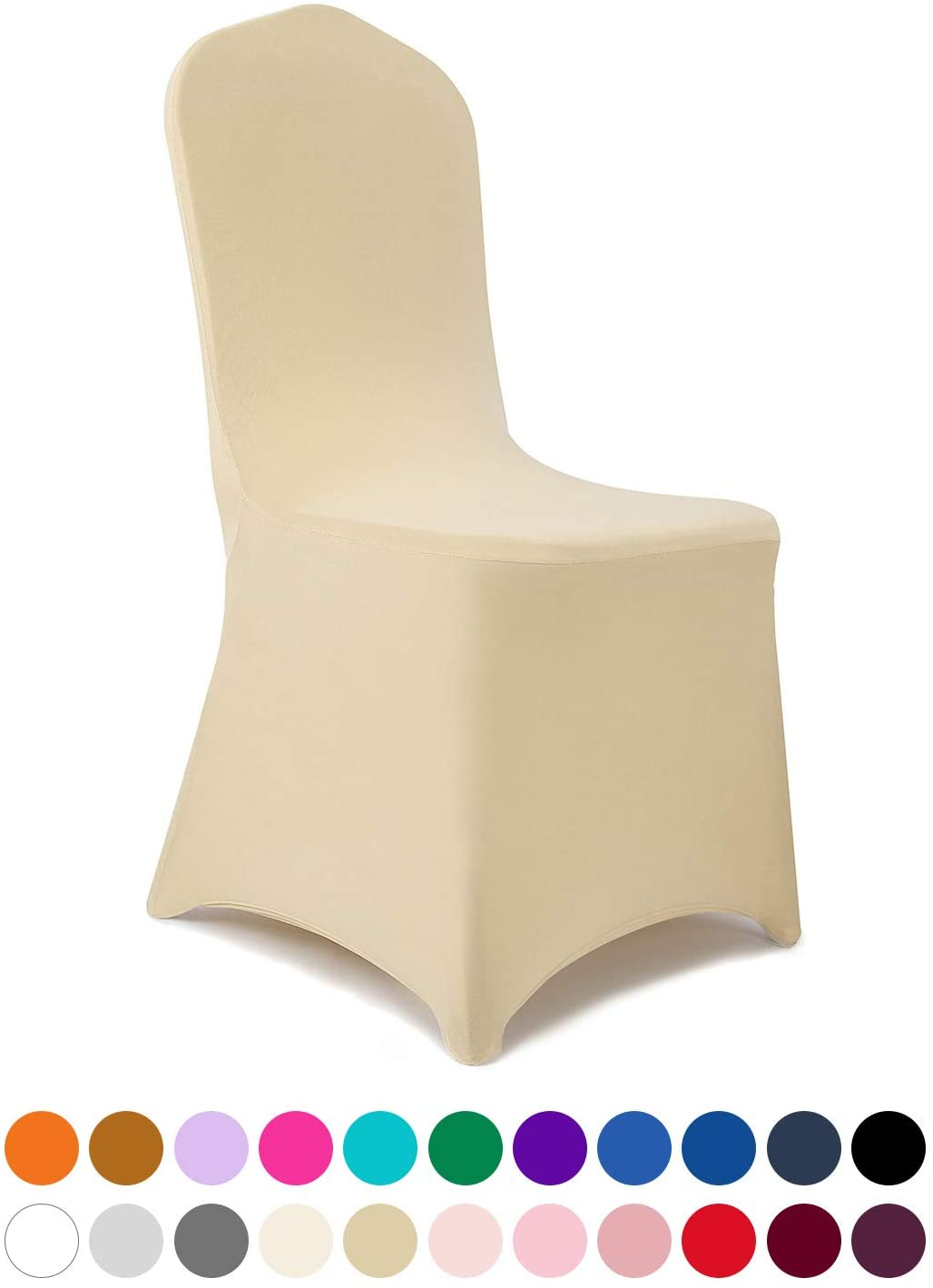Peomeise 12pcs Stretch Spandex Chair Cover for Wedding Party Dining Banquet Event (Champagne, 12)