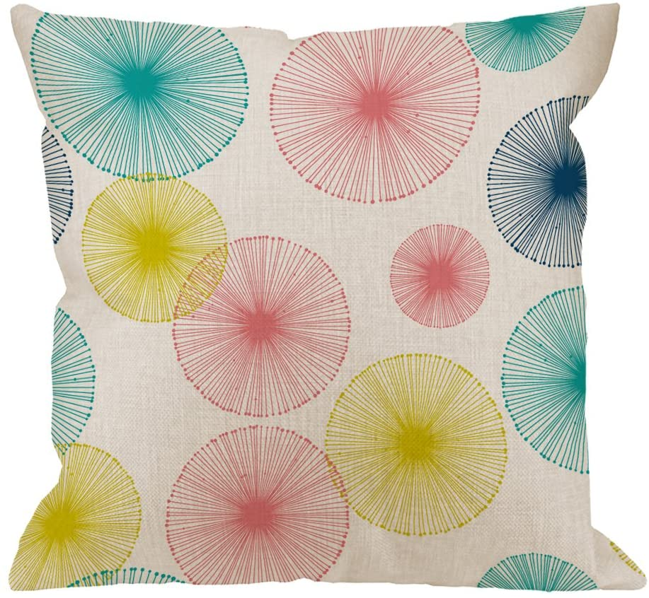 HGOD DESIGNS Dandelion Circle Pillow Covers,Colorful Dandelion on a White Background Pillow Cases Cotton Linen Square Cushion Covers for Home Sofa Couch 18x18 inch Blue Yellow Pink