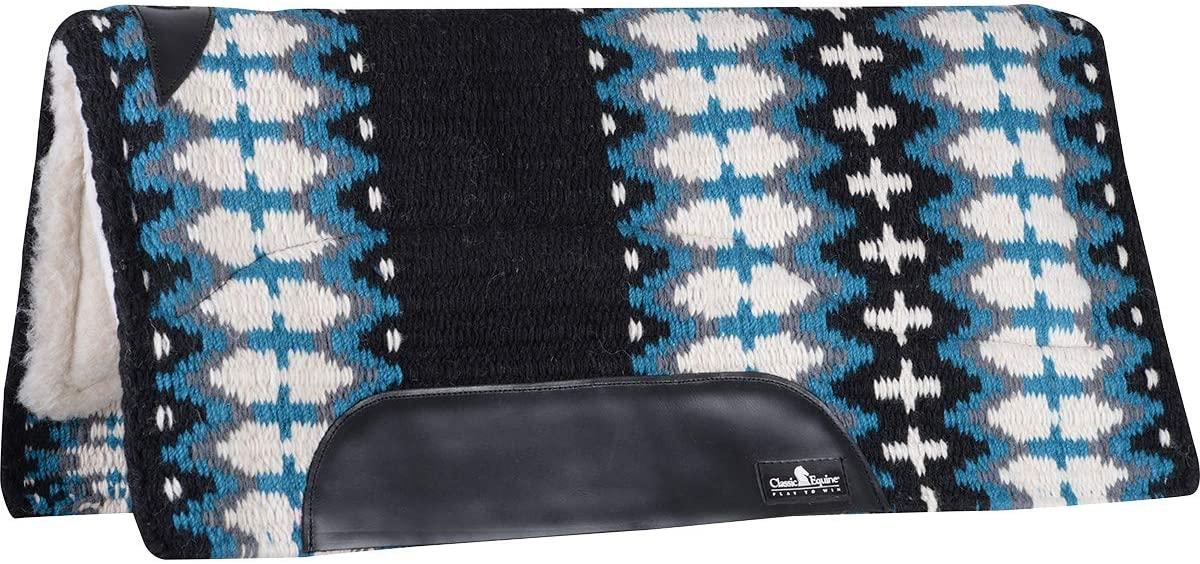 Classic Rope Company SensorFlex Wool Top 34 x 38 Saddle Pad Black/Turquoise Black/Turq 34X38