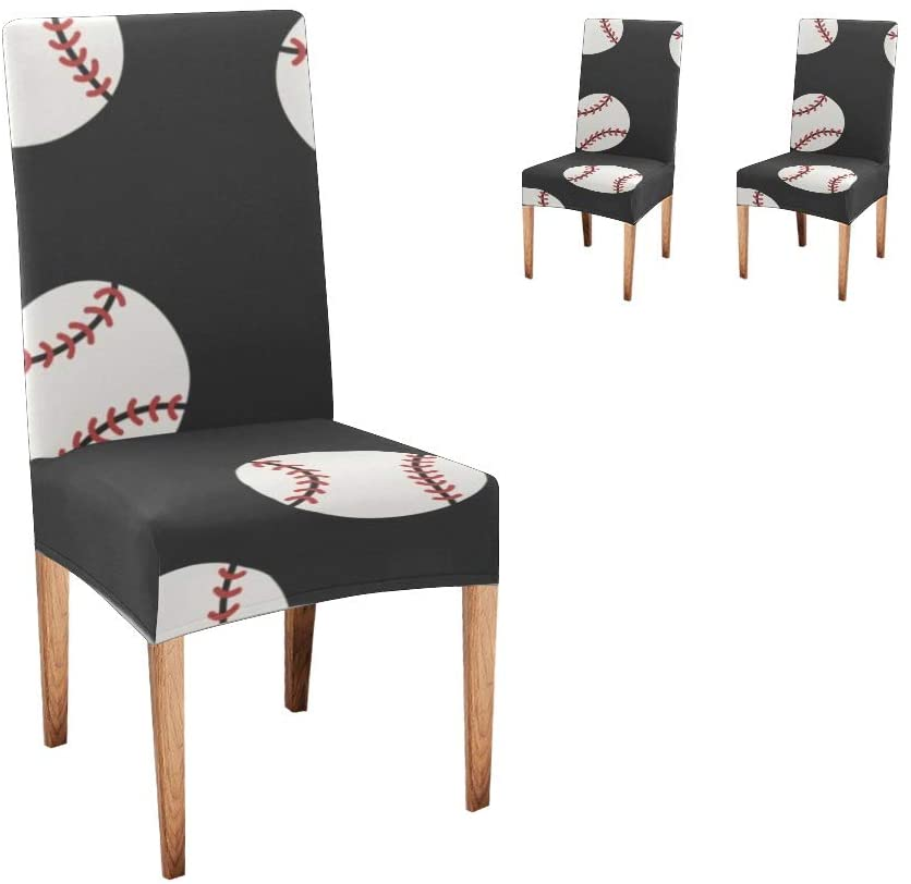 XIUCOO Custom Stretch Chair Covers Protector American Baseball Black Comfort Soft Seat Covers Slipcovers for Dining Room Party(Set of 2)