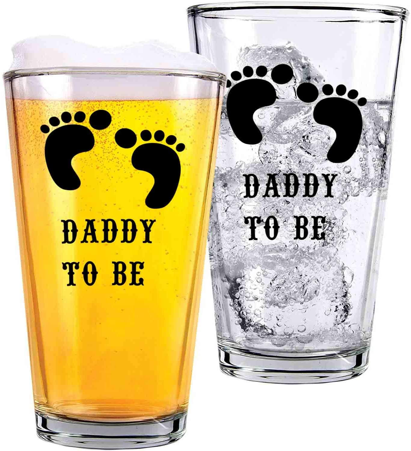 Daddy To Be, Dad, Father, Newborn, Baby - Glass cups - Funny and sarcasm-16oz pint glass cup - two