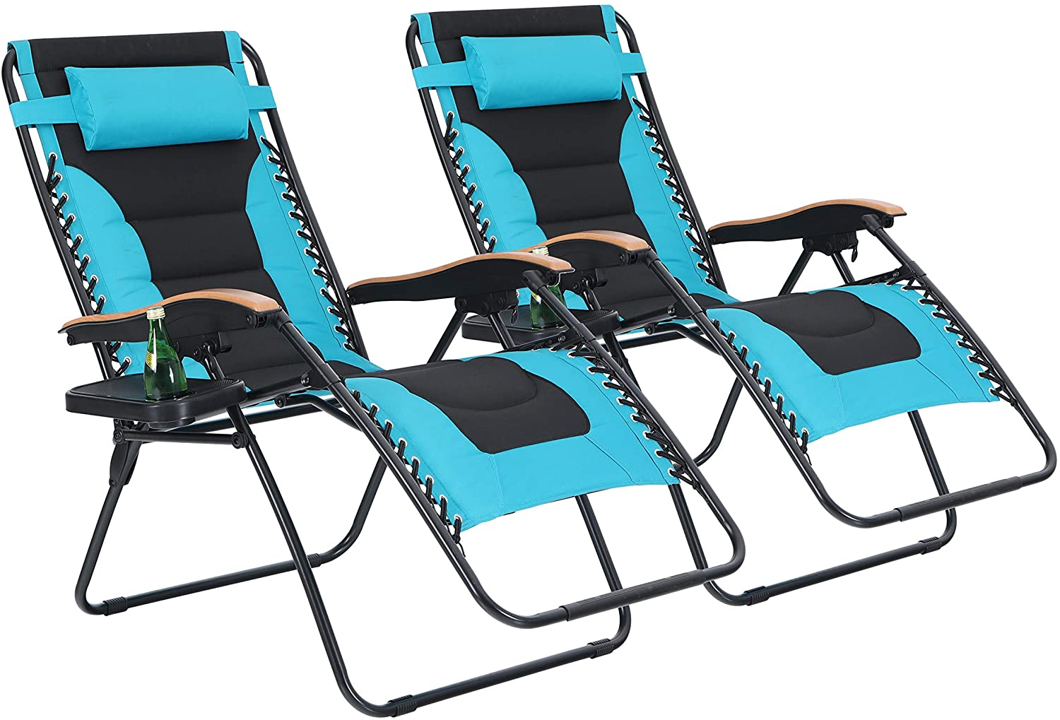 PHI VILLA Oversize XL Padded Zero Gravity Lounge Chairs Adjustable Recliner with Cup Holders Support 350lbs-2 Pack (Aqua)