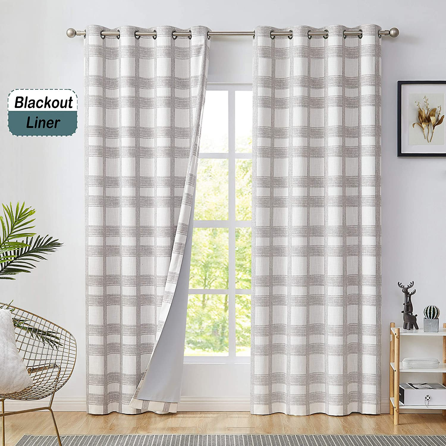 Central Park White Tan Geometric Blackout Window Curtain Plaid Buffalo Check Panel Pairs 84