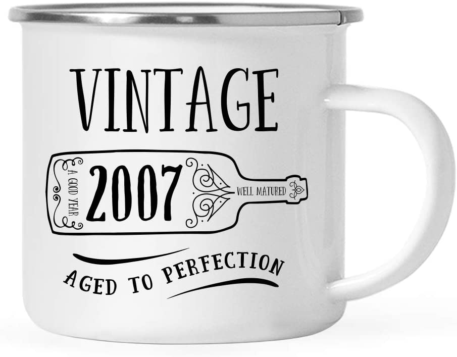 Andaz Press 11oz. Birthday Milestone Stainless Steel Campfire Coffee Mug Gift, Vintage 2007, Wine Bottle Graphic, 1-Pack, Enamel Camping Cup, 12th, 13th, 14th Birthday Gift Ideas for Him or Her Mom