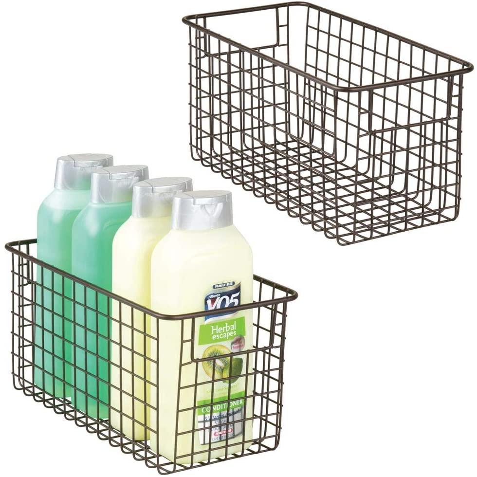 mDesign Bathroom Metal Wire Storage Organizer Bin Basket Holder with Handles - for Cabinets, Shelves, Closets, Countertops, Bedrooms, Kitchens, Garage, Laundry, 2 Pack - Bronze
