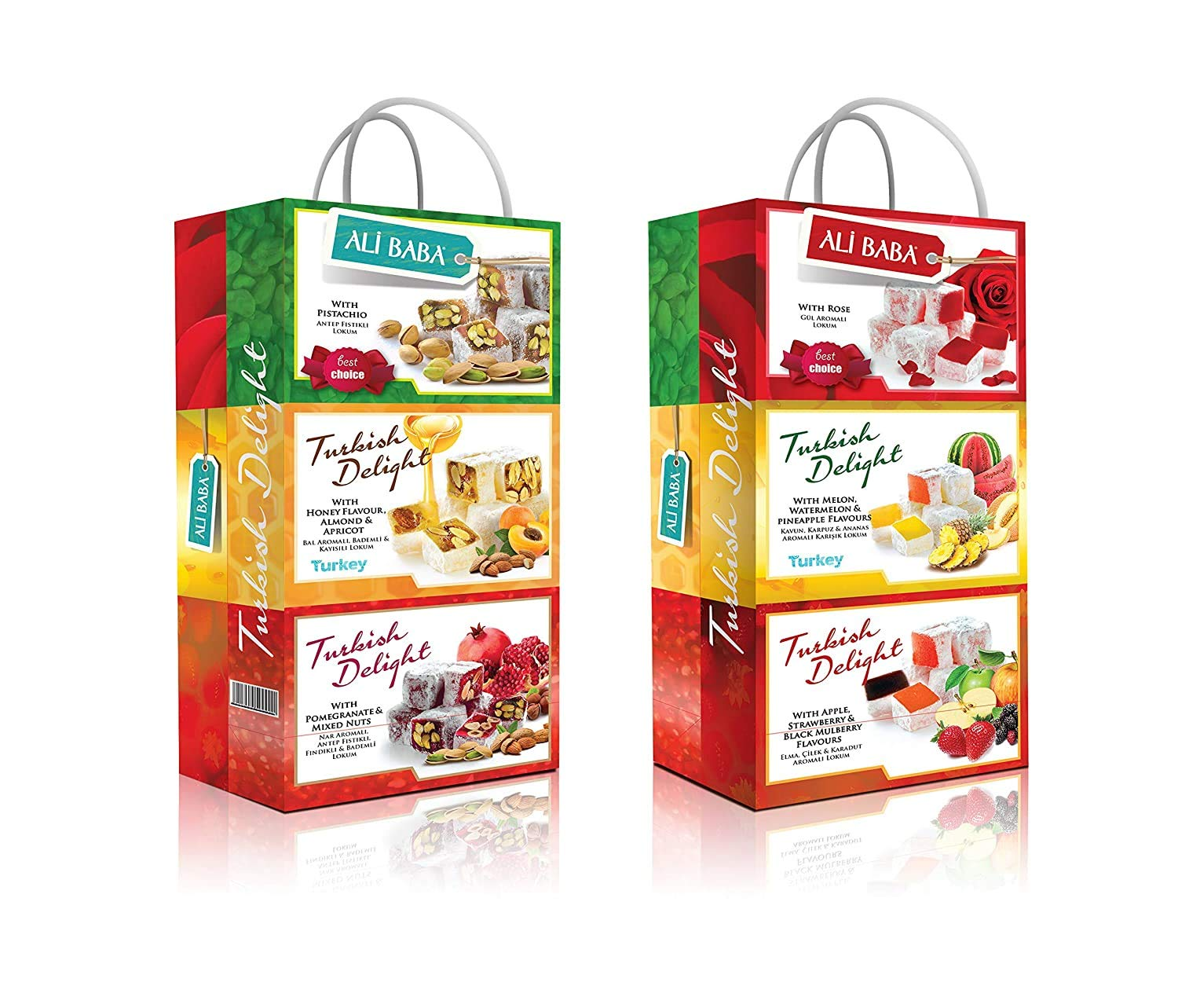 Turkish Delight Lokum Variety Gift Set Pomegranate Mix Nuts Watermelon Pineapple Rose Pistachios Honey Almond Apricot Apple Strawberry Mulberry 1 Gift Bag with Six box set Total 600 Grams 1.4 Lb