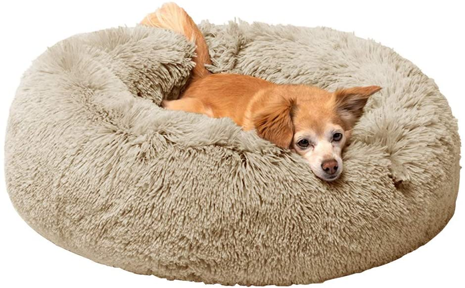 Joyreap Round Plush Dog Bed, Faux Fur Donut Pet Bed, Fluffy Cat Bed Cuddler Cushion for All Season - Washable, Non-Slip Waterproof Bottom (15.7