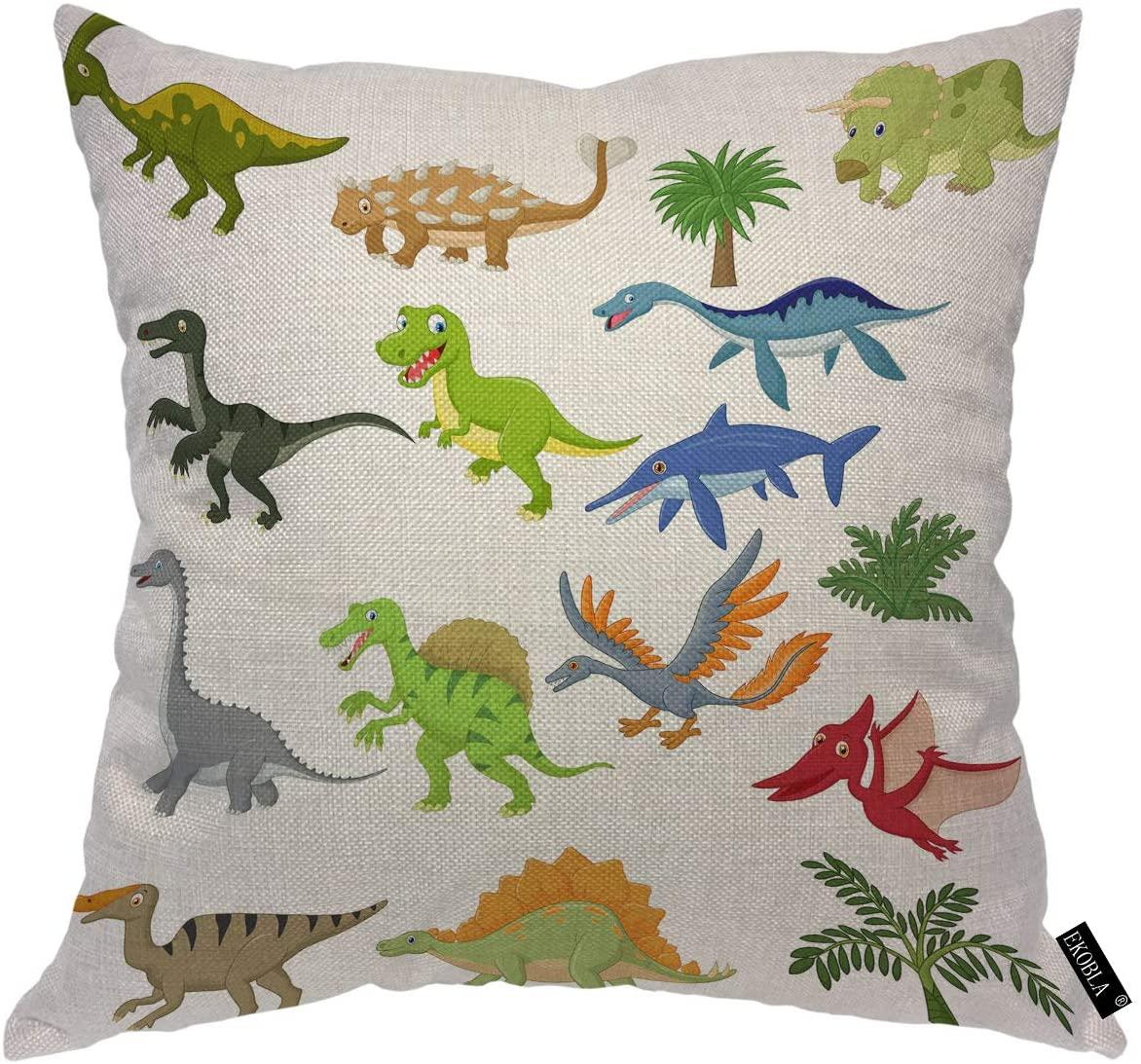 EKOBLA Dinosaur Throw Pillow Covers Comic Cute Cartoon Flying Giant Carnivorous Amusing Animals Beast Decorative Square Cushion Case for Men Women Boys Girls Home Decor Cotton Linen 16x16 Inch