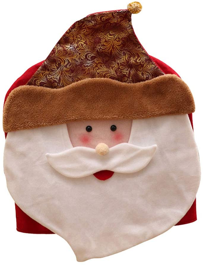 Christmas Santa Claus Shaped Cloth Chair Cover Dust-proof Practical Seat Cover Chair Protector for Home Restaurant Ideal For Christmas