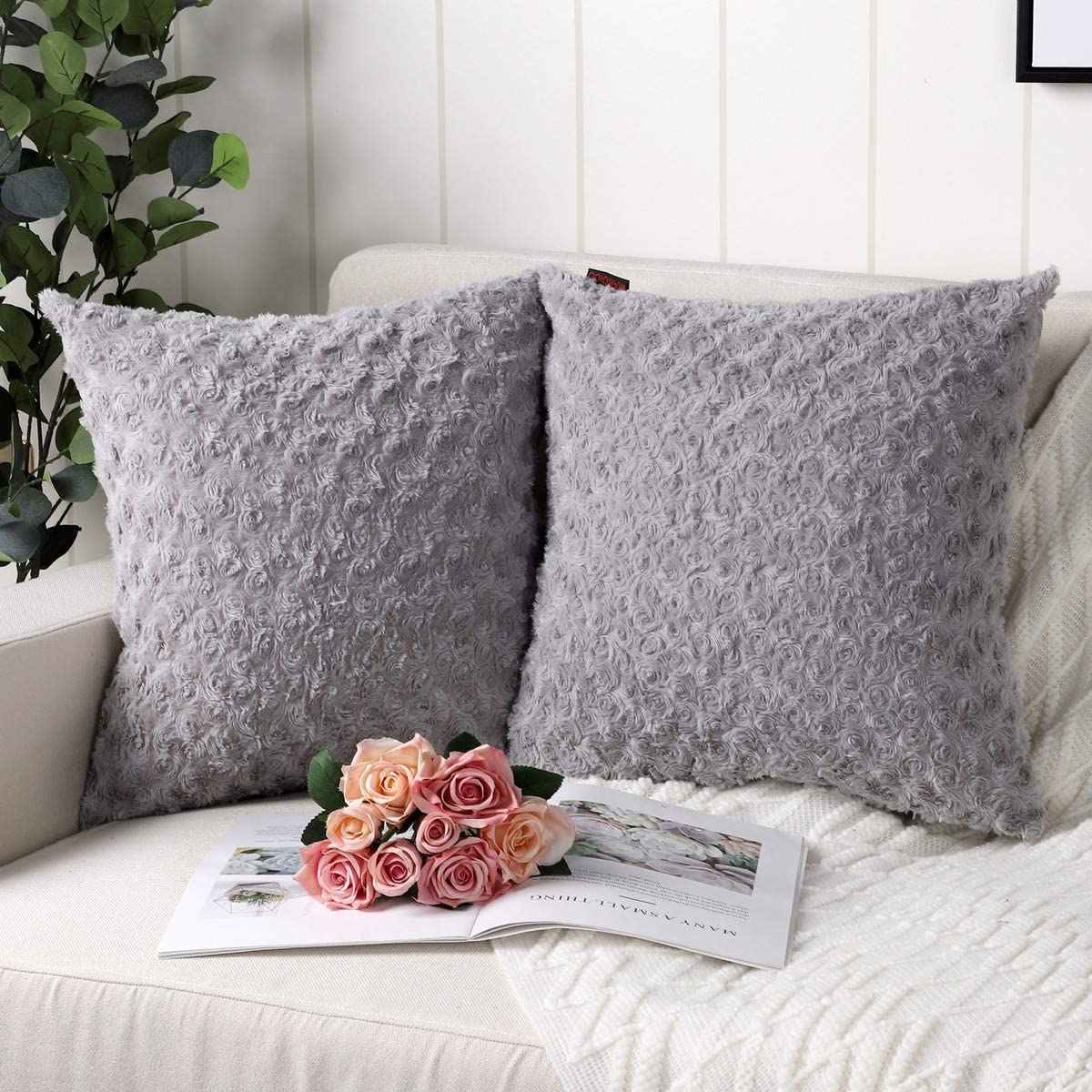 Mandioo Pack of 2 Grey Faux Fur 3D Flower Pattern Fuzzy Cozy Soft Decorative Throw Pillow Covers Set Cushion Cases Pillowcases for Couch Sofa Bedroom Car 24x24 Inches