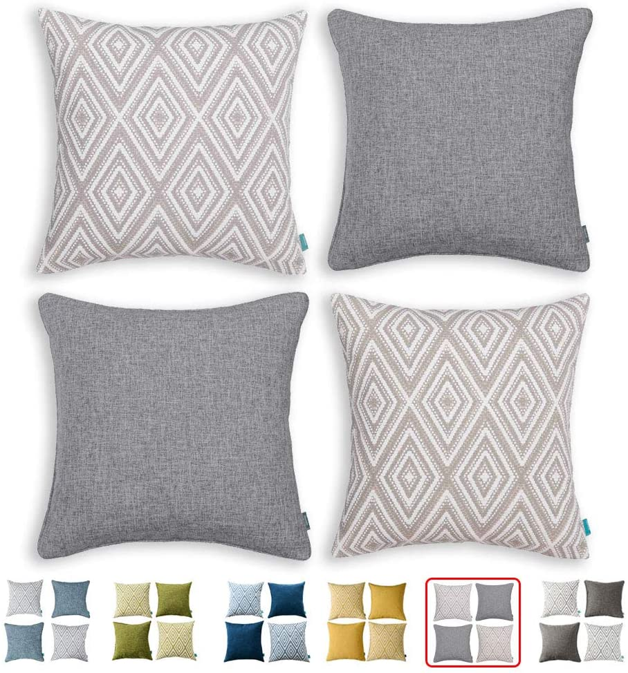 HPUK Set of 4 Decorative Throw Pillow Covers Geometric Design Cushion Pillowcases for Couch Sofa Bed Car, 17