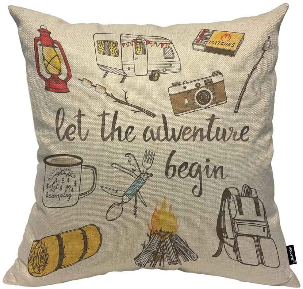 HOSNYE Camping Throw Pillow Case 16x16 Camp Bonfire, Vintage Lantern, Enamel Mug, Camper Van, Matchbox Pillow Cushion Cover Decorative Waist Home Decorations