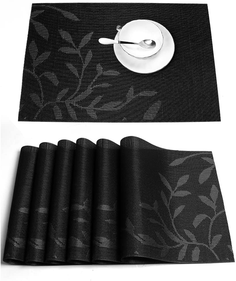 HEBE Placemats, Placemats for Dining Table Set of 6 Heat Insulation Stain Resistant Anti-Skid Eat Placemat Washable Vinyl Kitchen Table Mats