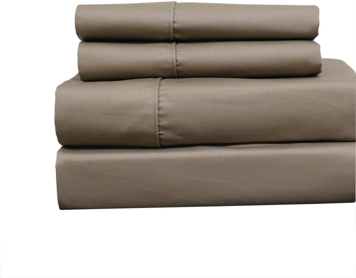22-Inch Super Deep Pocket Solid 650TC Cotton-Blend Bed Sheets (Taupe, Queen)