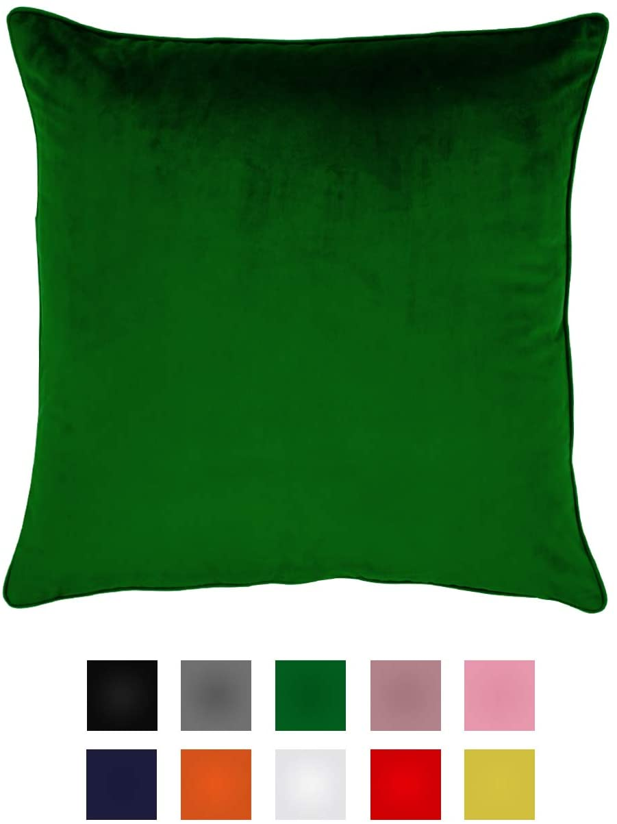 Essencea Velvet Throw Pillow Covers Set of 2 Solid Color Decorative European Shams Soft Square Pillowcases with Hidden Zipper for Sofa | Bedroom | Living Room | Car (20 x 20 Inch, Green)
