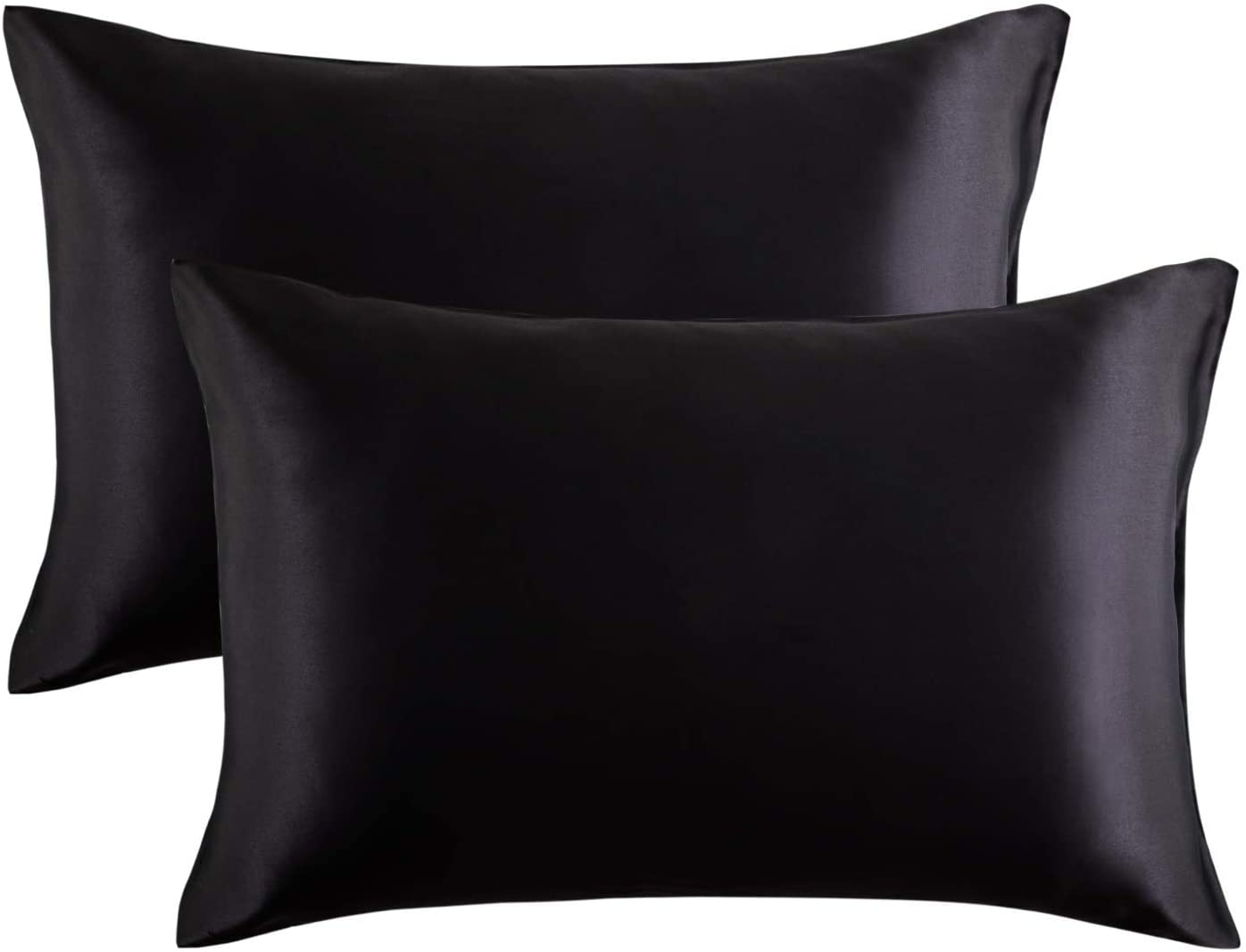 Essencea Satin Throw Pillow Covers Set of 2 Solid Color Decorative European Shams Soft Square Pillowcases for Sofa | Bedroom | Living Room | Car (20 x 30 Inch, Black)