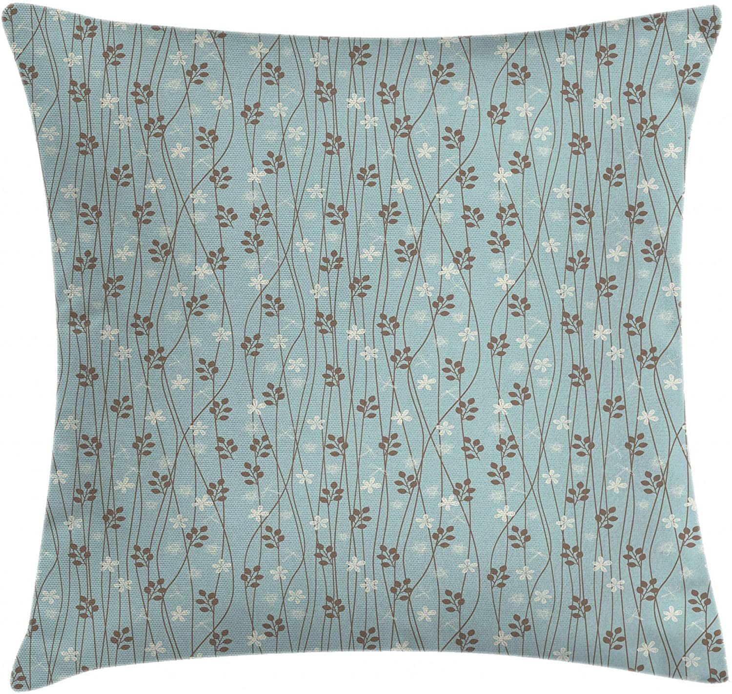 Ambesonne Vintage Throw Pillow Cushion Cover, Floral Rustic Composition with Blossoming Branches Wildflowers Garden, Decorative Square Accent Pillow Case, 16
