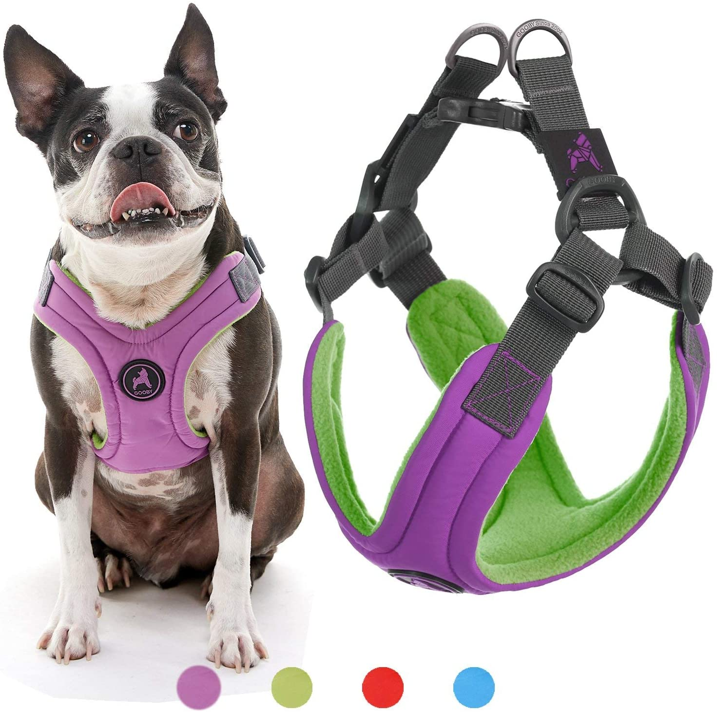 Gooby Dog Harness - Blue, Large - Escape Free Memory Foam Step-in Small Dog Harness - Perfect on The Go Four-Point Adjustable - No Pull Harness for Small Dogs or Cat Harness