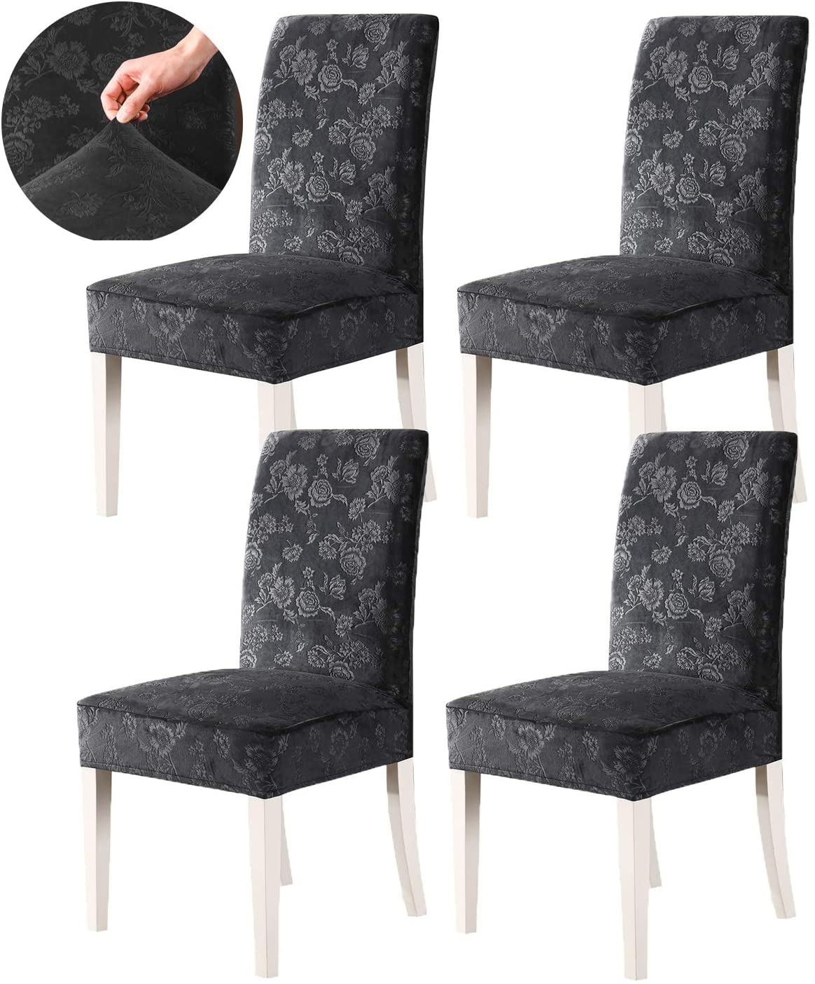 GIANCO FERRO Stretch Velvet Dinning Chair Covers Spandex Floral Pattern Wedding Banquet Removable Washable Seat Cover Slipcover Kitchen Chairs Protector Wrap Charcoal Gray 4PC