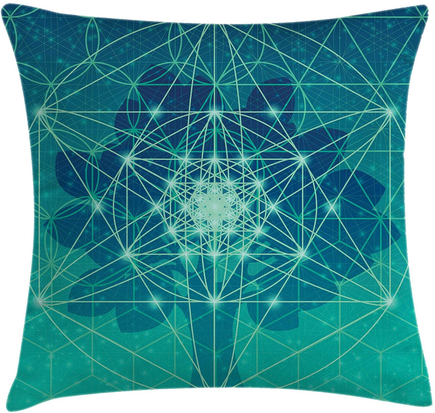 Ambesonne Geometry Throw Pillow Cushion Cover, Digital Futuristic Tree of Life with Space Plains Pattern, Decorative Square Accent Pillow Case, 18