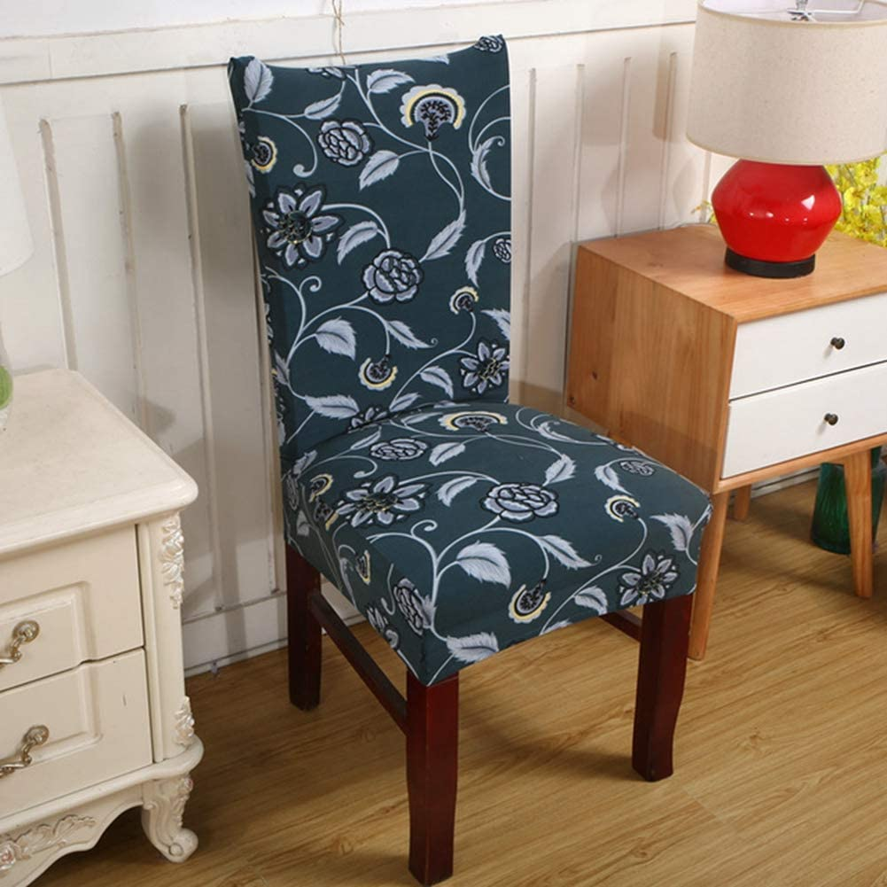 BERTERI 4PCS Elastic Chair Cover for Computer/Dining Room/Kitchen/Office Colorful Printed Chair Covers Spandex Seat Cover Wedding
