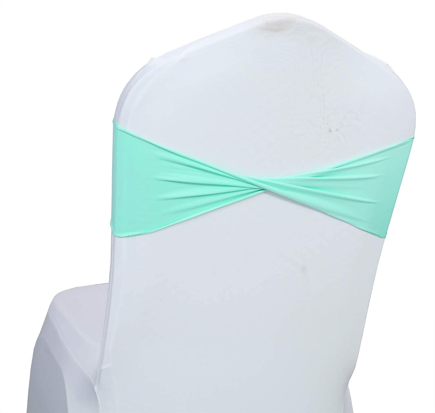 mds Pack of 1 Spandex Chair Sashes Bow sash Elastic Chair Bands Ties Without Buckle for Wedding and Events Decoration Lycra Slider Sashes Bow - sea Green