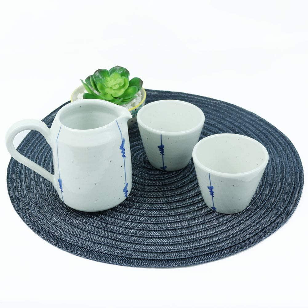 GYUDAMYO Bluebee Hnadmade Ceramic Porcelain Brewing Coffee Tea Cup Jug Set, 3 Pcs