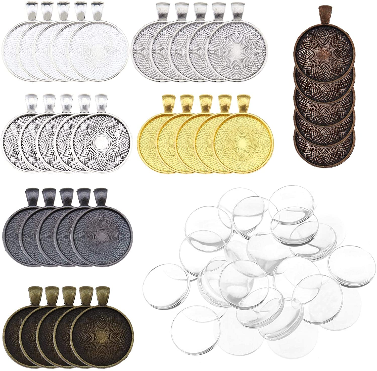 35PCS Pendant Trays Round Bezel with Glass Cabochon Clear Dome Tiles 7-Color for Crafting DIY Jewelry Necklace Key Ring Making