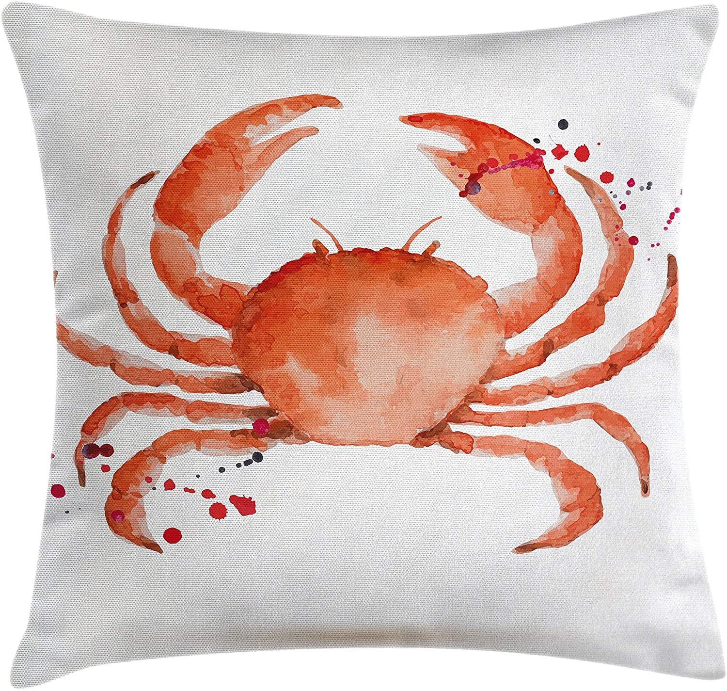 Ambesonne Crabs Throw Pillow Cushion Cover, Sea Animals Theme in Watercolor Style Effect a Big Crab on White Background Print, Decorative Square Accent Pillow Case, 24