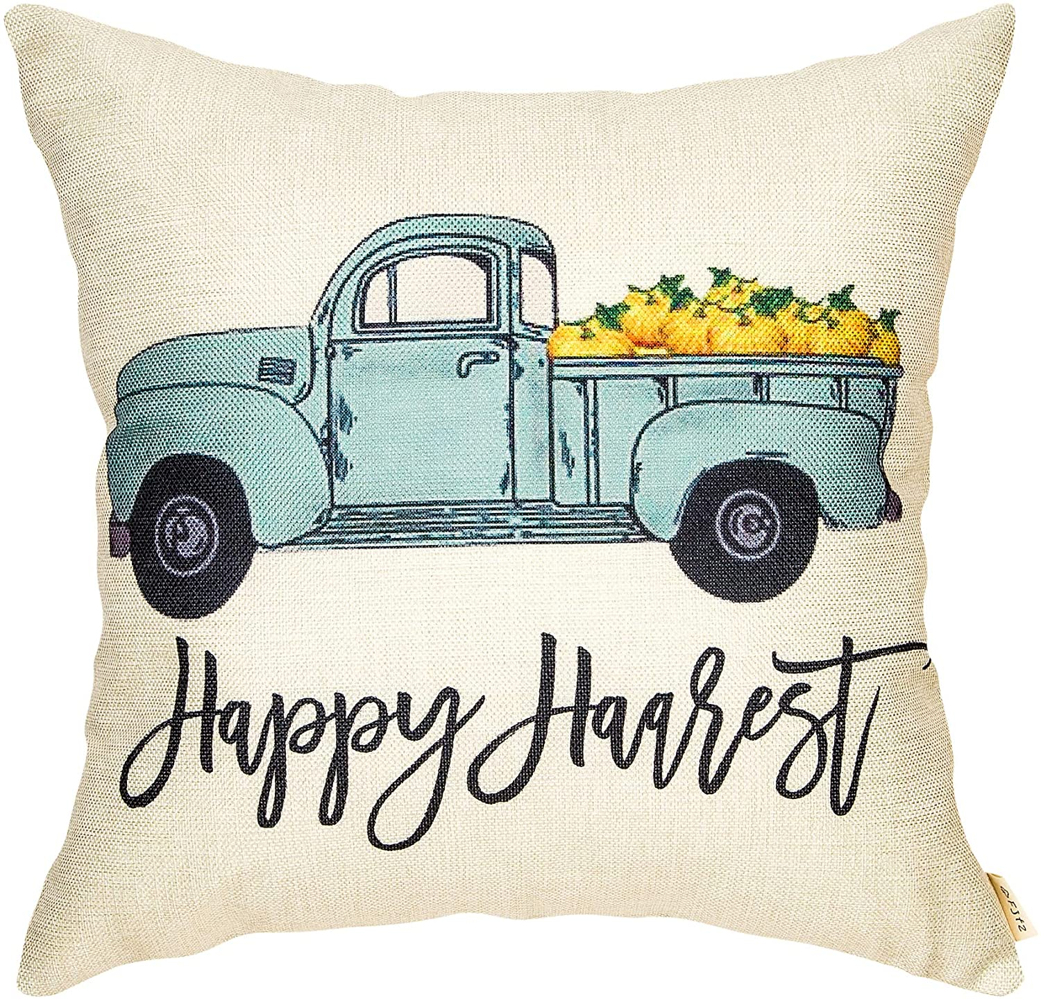 Fjfz Happy Harvest Truck Pumpkin Fall Farmhouse Style Thanksgiving Day Cotton Linen Home Decorative Throw Pillow Case Cushion Cover Words Sofa Couch, 18