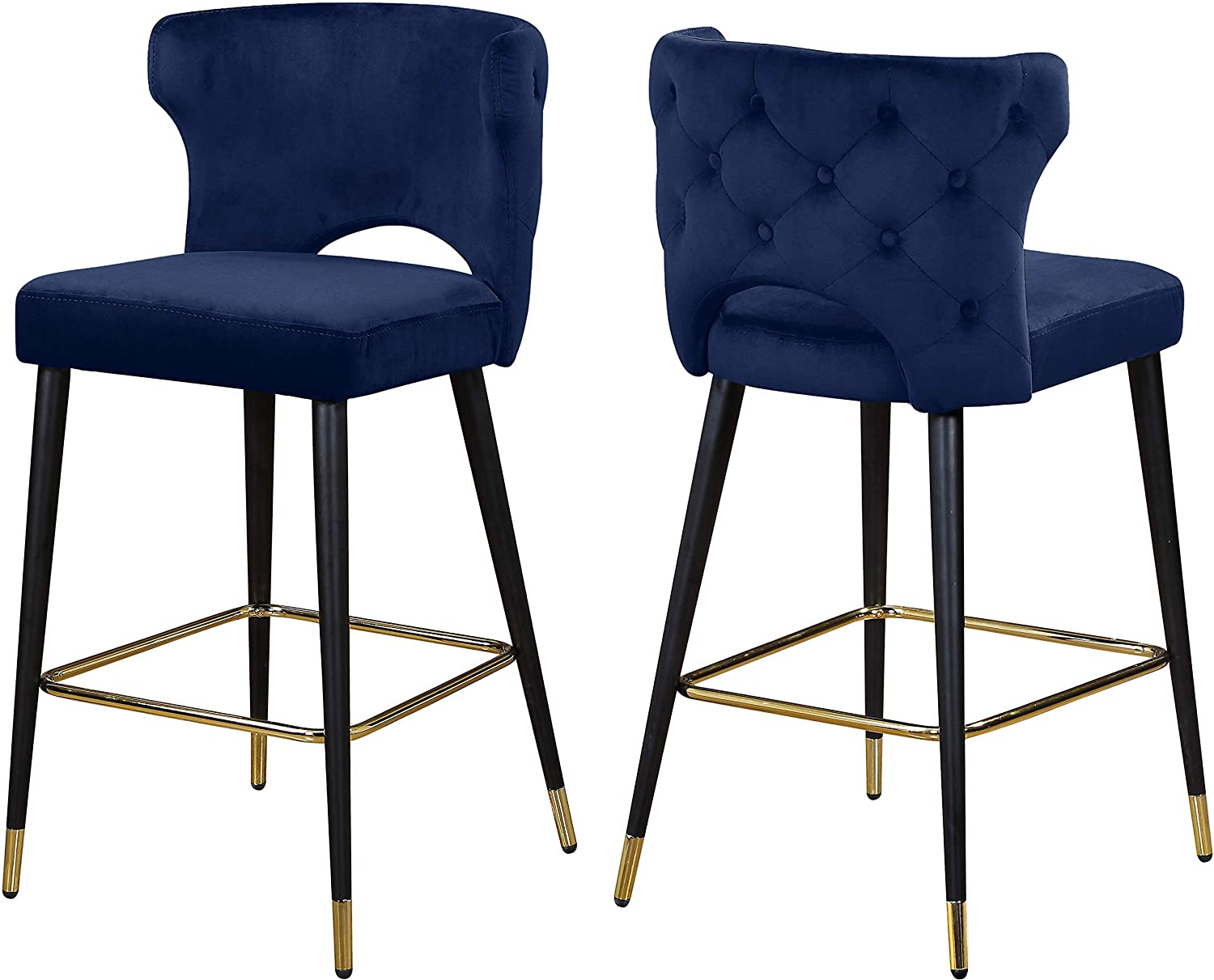 Meridian Furniture Kelly Collection Modern   Contemporary Velvet Upholstered Counter Height Stool with Gold Tipped, Black Metal Legs, Navy, 22