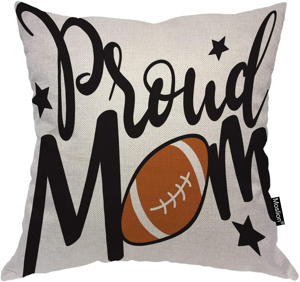 Moslion Proud Mom Throw Pillow Cover with American Football Rugby Stars Positive Lettering Square Pillow Case Cushion Cover for Home Car Decorative Cotton Linen 18x18 Inch