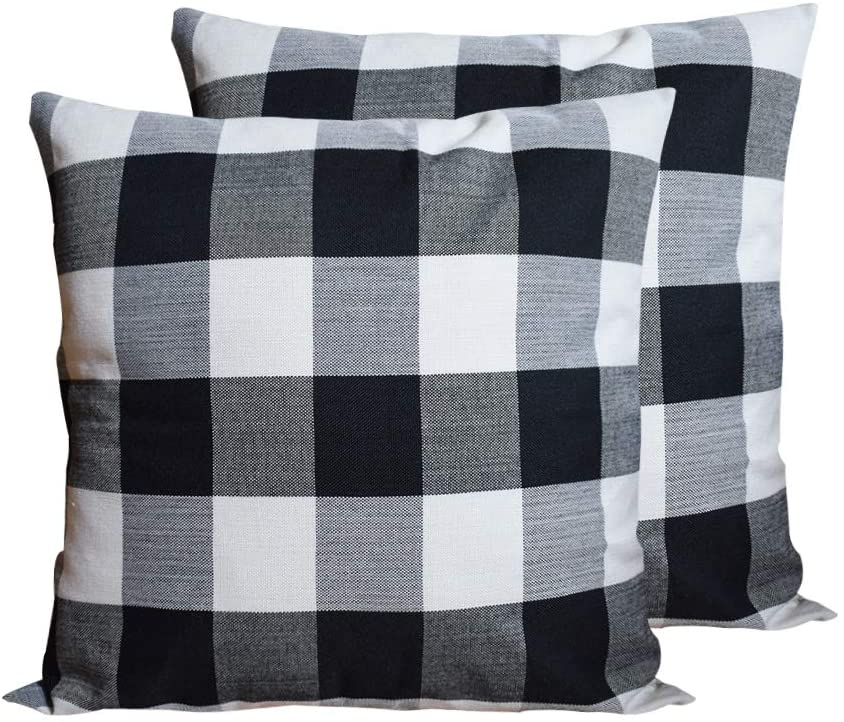 HOPLEE Farmhouse Pillow Covers 24x24 Inches Decorative Black and White Buffalo Plaid Outdoor Pillow Cover Set of 2