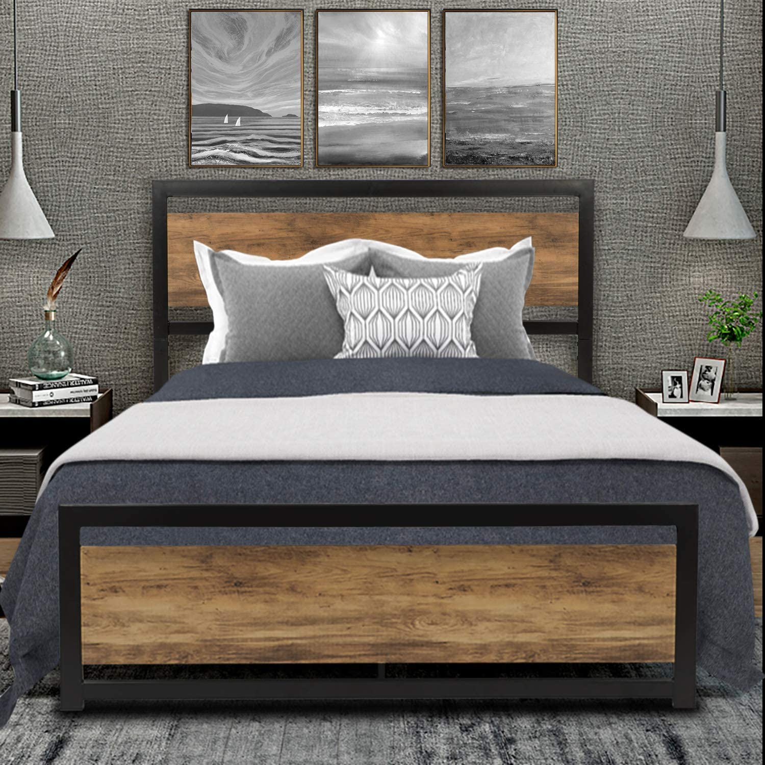 SHA CERLIN Full Size Platform Bed, High Metal and Wood Bed Frame with Wood Headboard Metal Slats, No Box Spring Needed