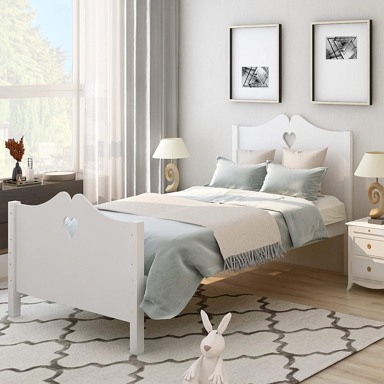 SOZAKKA Bed Frame Twin Platform Bed with Wood Slat Support and Headboard and Footboard (Twin, White)